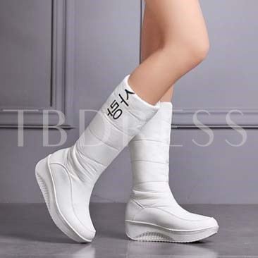 Round Toe Slip-On Mid-Calf Wedge Heel Women's Boots