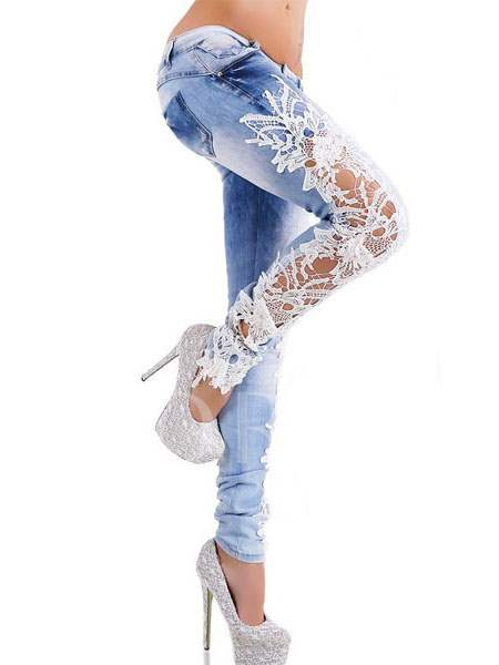 Buy Floral Lace Patchwork Denim Women's Jeans, Summer,Fall, 11536166 for $21.99 in TBDress store