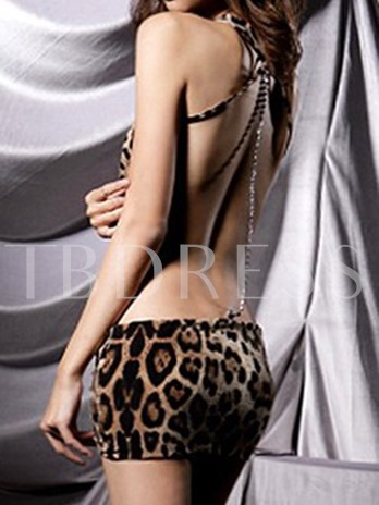 Hot Leopard Backless Mini Dress Chemise Lingerie