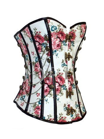 Vintage Buckles Chains Sexy Floral Print Overbust Corset