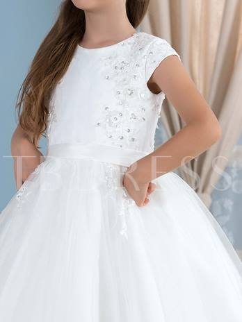 Lace Beading Tulle Ball Gown Flower Girl Dress