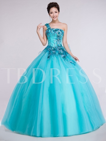 One-Shoulder Flowers Sequins Quinceanera Dress