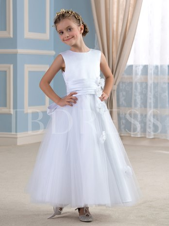 White Ankle-Length Bow Knot Flower Girl Dress