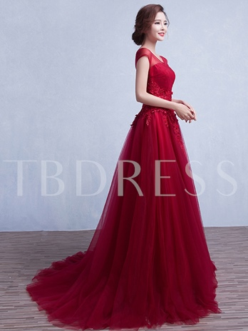 A-Line Cap Sleeve Appliques Bowknot Evening Dress