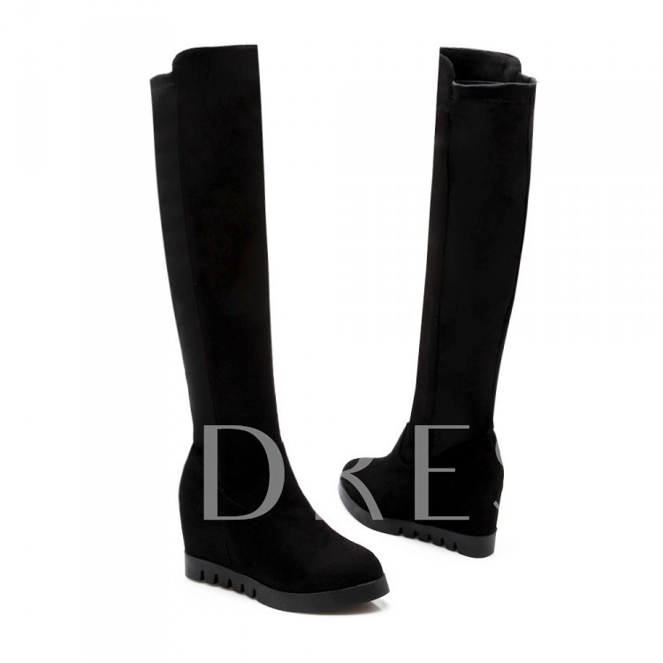Elevator Heel Round Toe Slip-On Knee-High Women's Boots