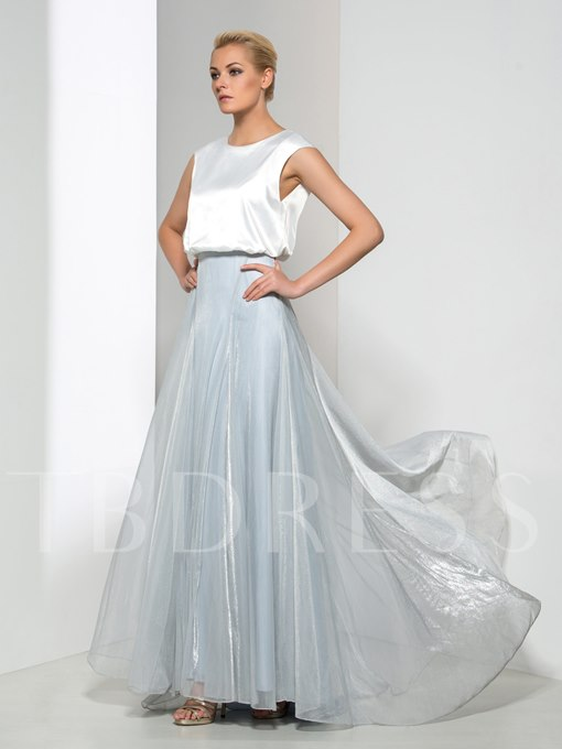 Round Neck Cap Sleeve Long Evening Dress