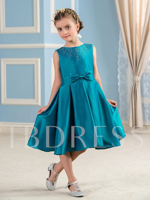 A-Line Beaded Tea-Length Flower Girl Dress