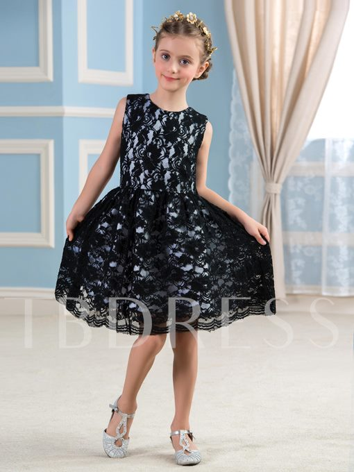 Lace Knee-Length Short Flower Girl Dress