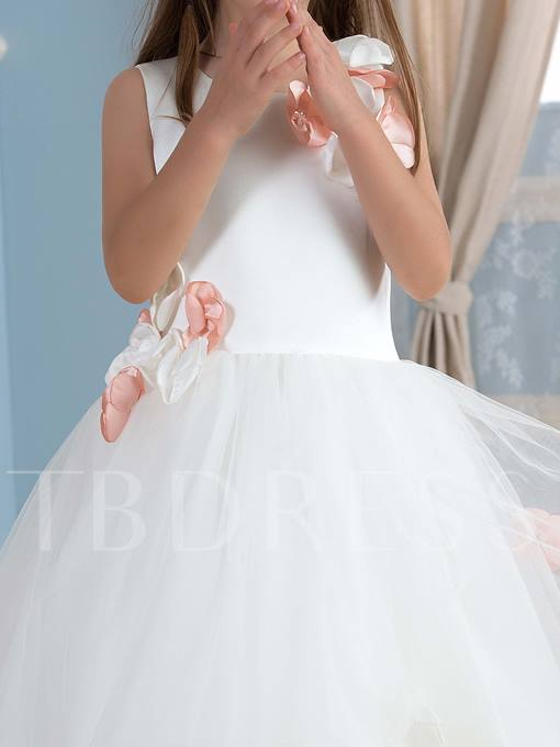Flowers Floor-Length Tulle Flower Girl Dress