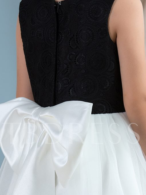 Lace Tulle Bow Knot Knee-Length Short Girl`s Party Dress