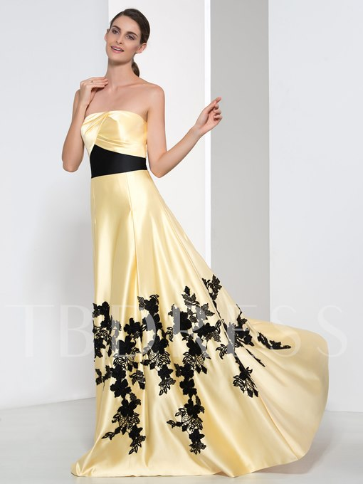 A-Line Strapless Appliques Long Evening Dress
