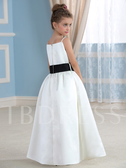 Spaghetti Straps Floor-Length A-Line Flower Girl Dress