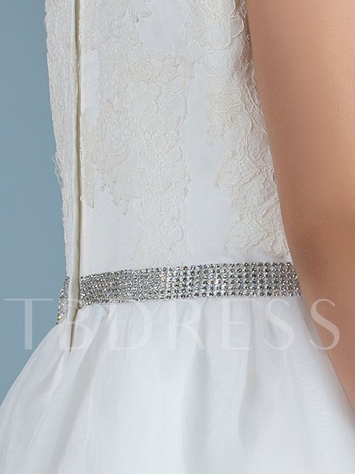 Lace Jewel Neck Beading Belt Floor-Length Flower Girl Dress