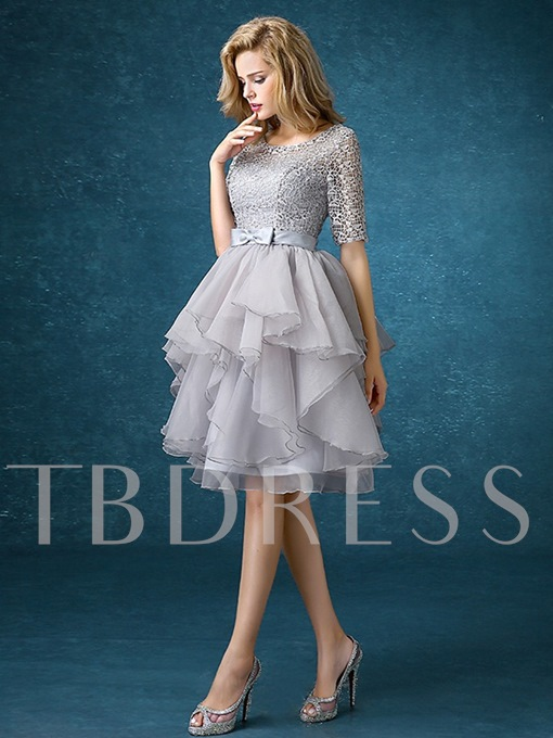 Scoop Neck Half Sleeves Lace A-Line Knee-Length Short Bridesmaid Dress