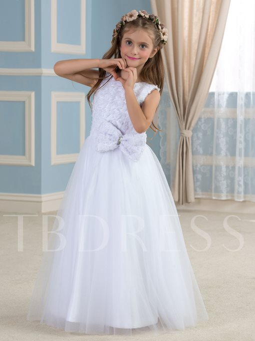 A-Line Floor-Length Tulle Flower Girl Dress