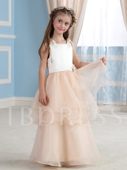 Tiered Organza A-Line Floor-Length Flower Girl Dress