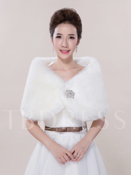 Rhinestone Brooch Faux Fur Wedding Shawl