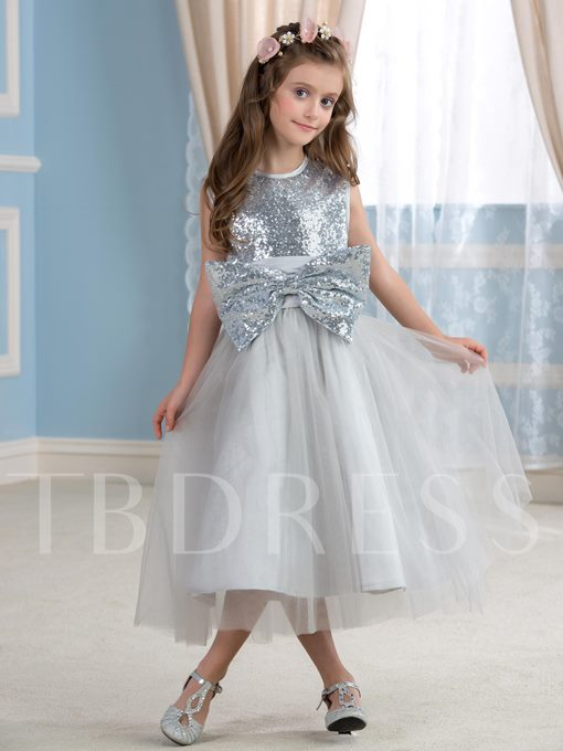 Big Sequined Bow Knot Tea-Length Flower Girl Dress
