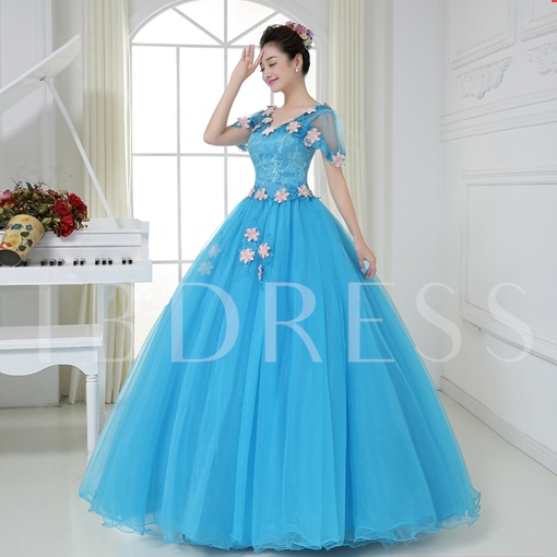 Short Sleeves V-Neck Ball Gown Lace Flowers Quinceanera Dress