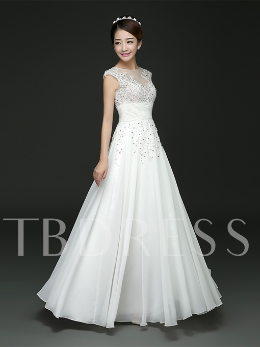 Appliques Beaded Lace A-Line Floor-Length Bridesmaid Dress