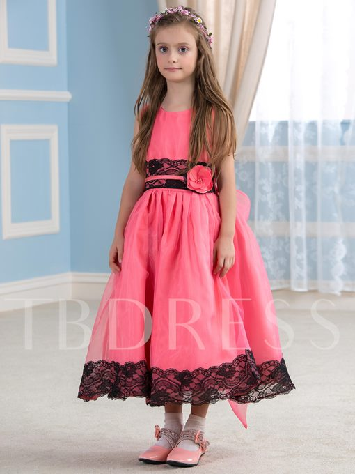 Adorable Lace Organza Tea-Length Flower Girl Dress