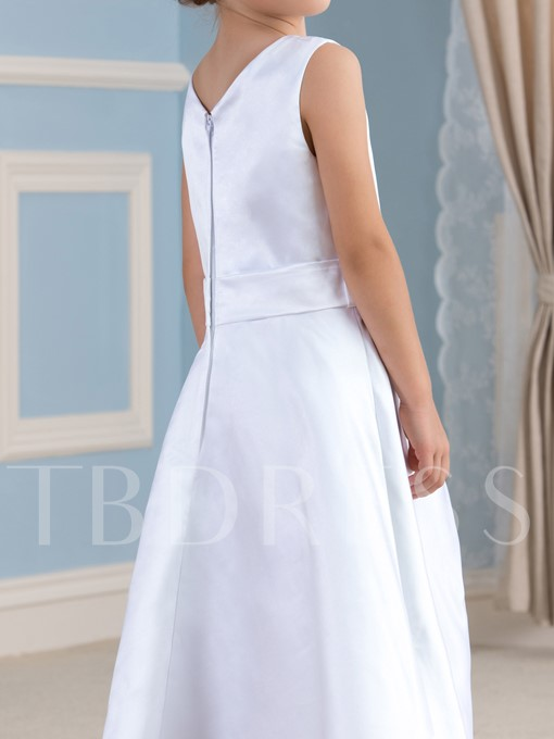 A-Line Scoop Neck Tea-Length Flower Girl Dress