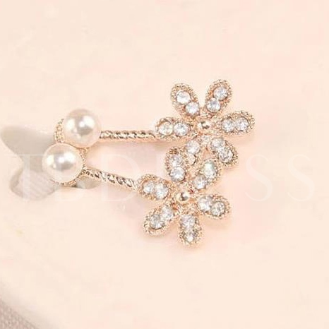 Pearl With Rhinestne Five Which Stud Earrings