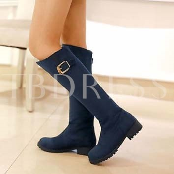 Square Heel Round Toe Buckle Slip-On Knee-High Women's Boots