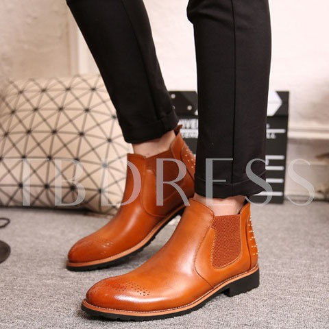 Pointed Toe Rivet Elastic Square Heel Ankle Men's Boots