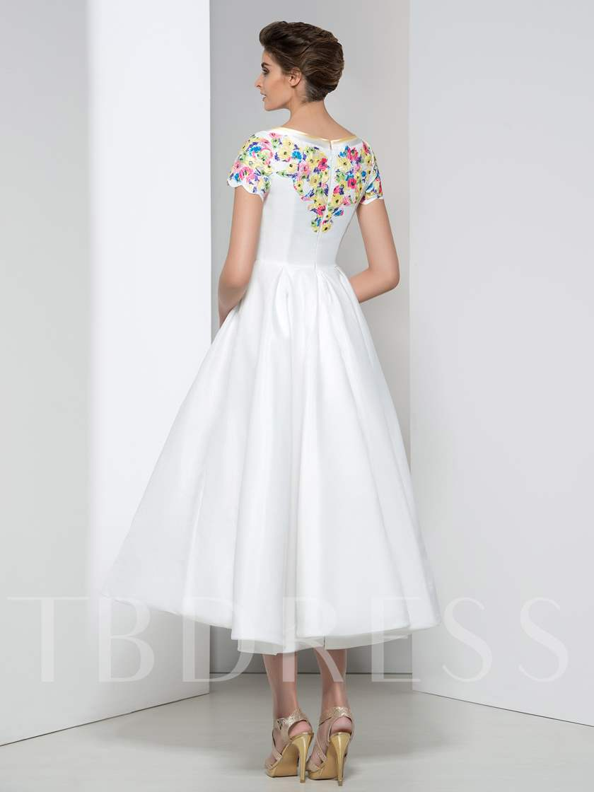 A-Line Short Sleeve Appliques Prom Dress