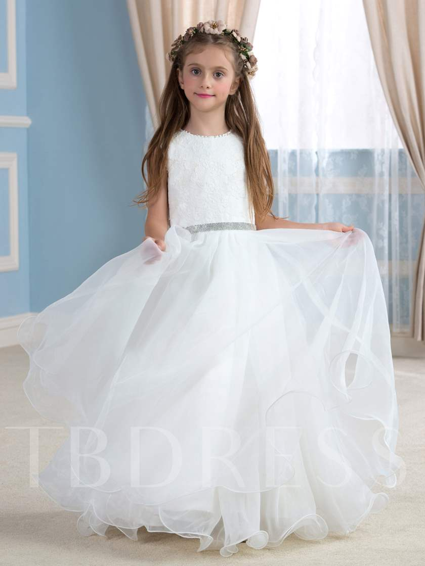 Lace Jewel Neck Beading Belt Flower Girl Dress