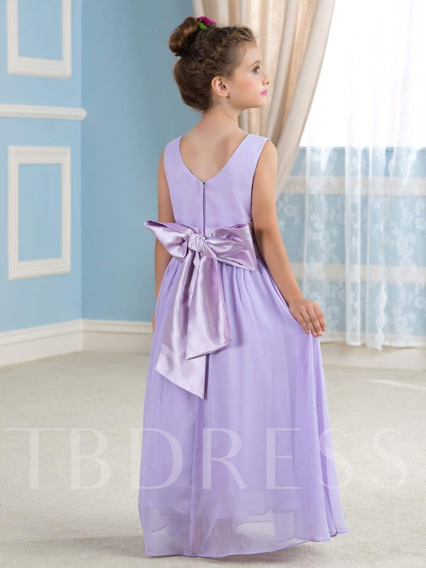 Adorable Floor-Length Crepe Chiffon Flower Girl Dress