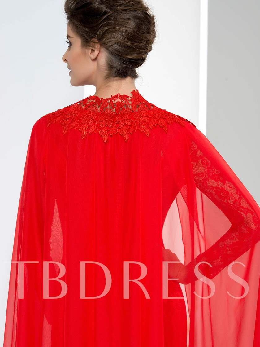 Long Sleeve Appliques Evening Dress With Shawl
