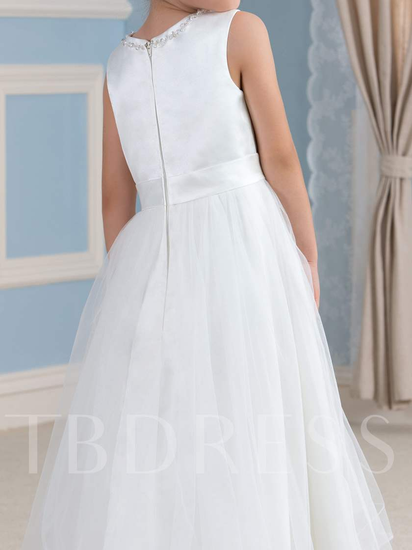 Jewel Neck Tulle Asymmetry High-Low Flower Girl Dress