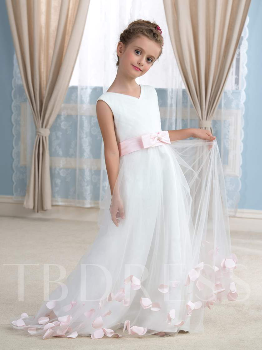 V-Neck A-Line Flowers Tulle Court Train Flower Girl Dress