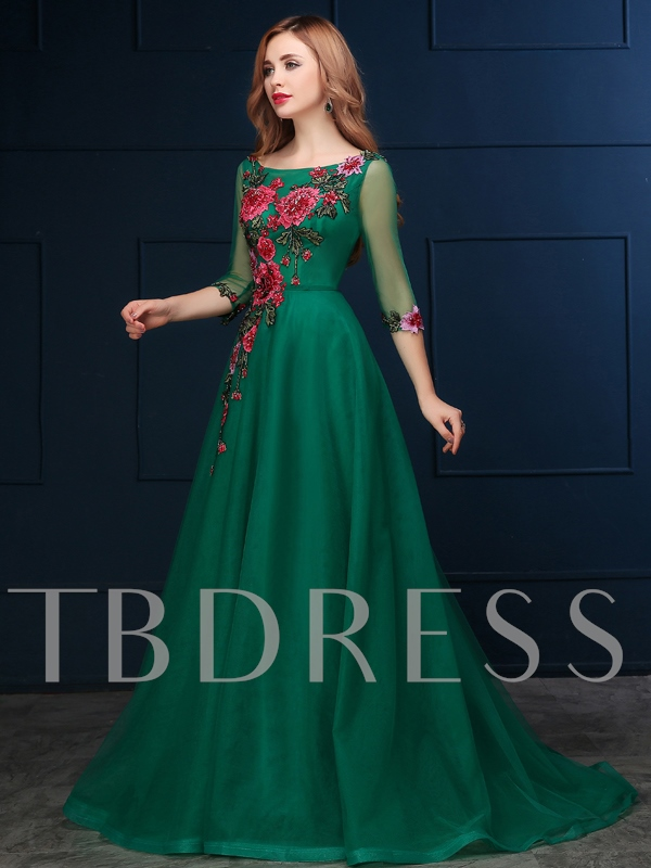 A-Line Bateau Neck Embroidery Half Sleeve Evening Dress