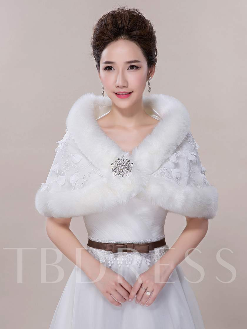 Faux-Fur Beading Wedding Shawl