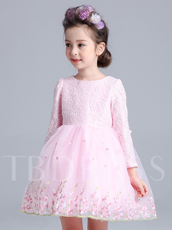 Long Sleeve Bowknot Lace Girl`s Party Dress