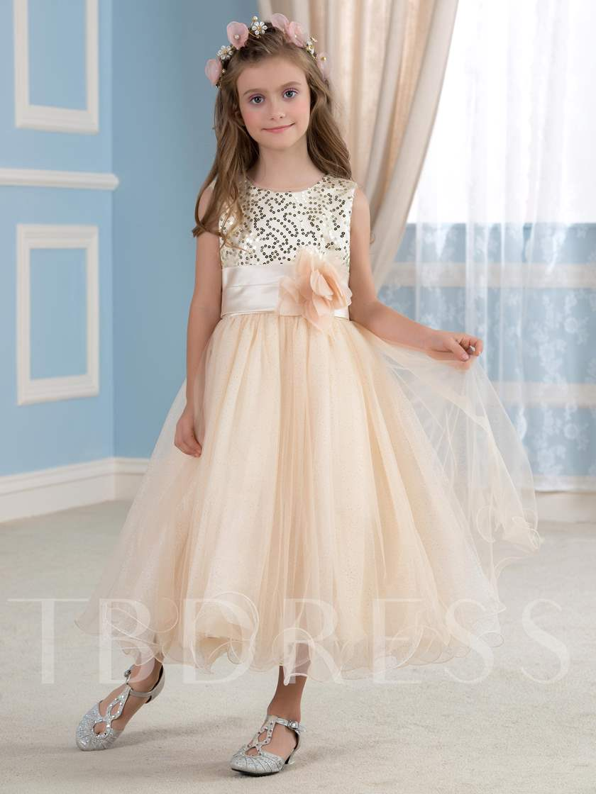 Sequins Tulle Bateau Tea-Length Flower Girl Dress