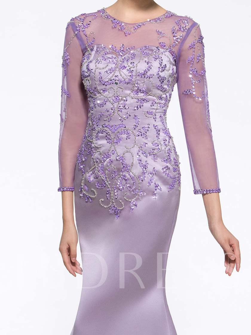 Mermaid Beading Long Sleeve Mother of the Bride Dress