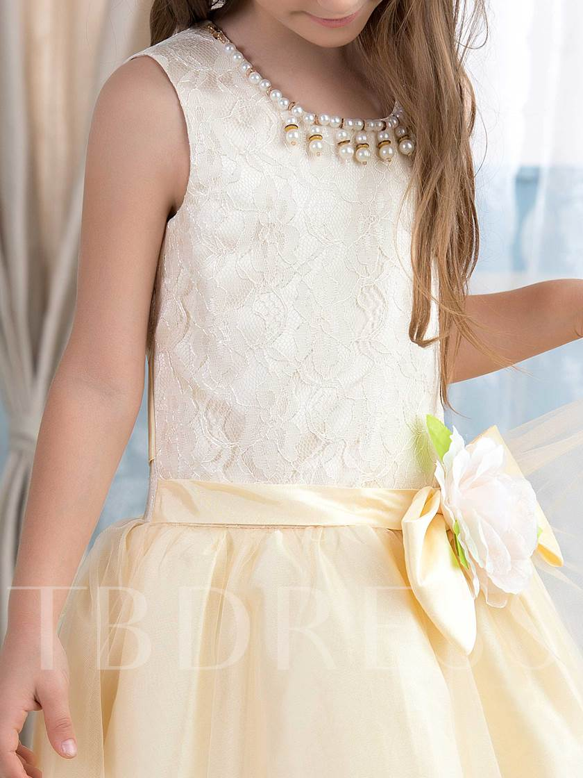 Pearls Neck Lace Flower Tea-Length Flower Girl Dress