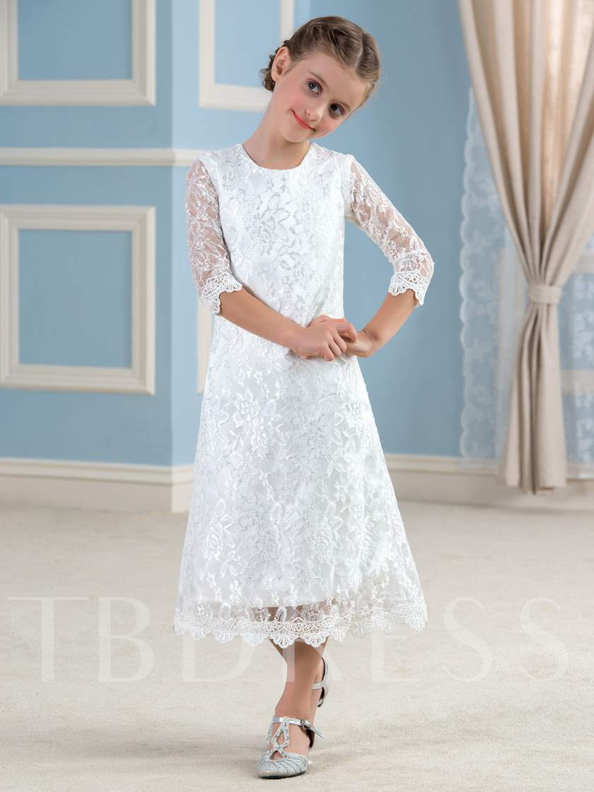 Half Sleeves Tea-Length Lace Flower Girl Dress