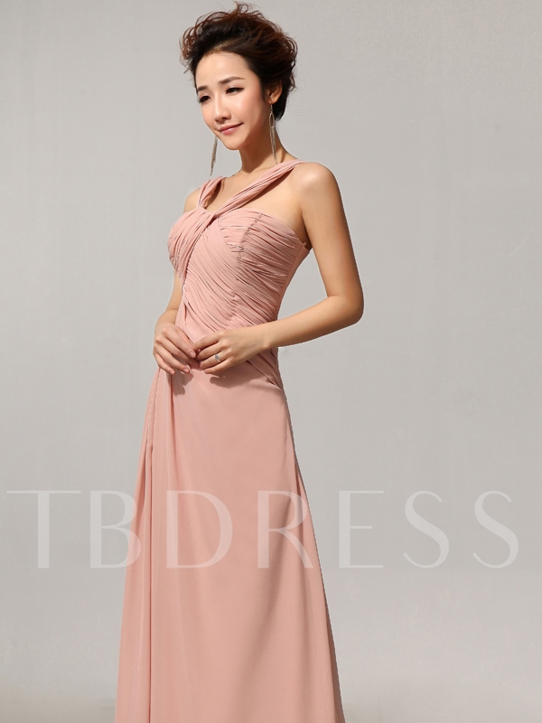 Split-Front Pleats Chiffon Bridesmaid Dress