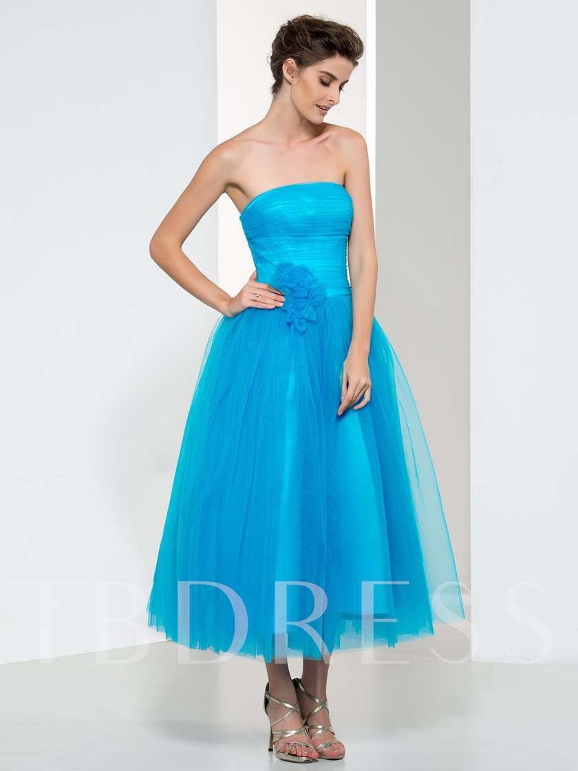 A-Line Strapless Pleats Zipper-Up Prom Dress