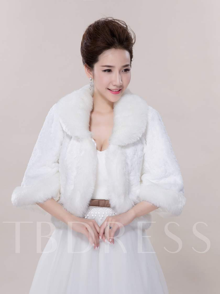 Half Sleeves Faux Fur Wedding Jacket