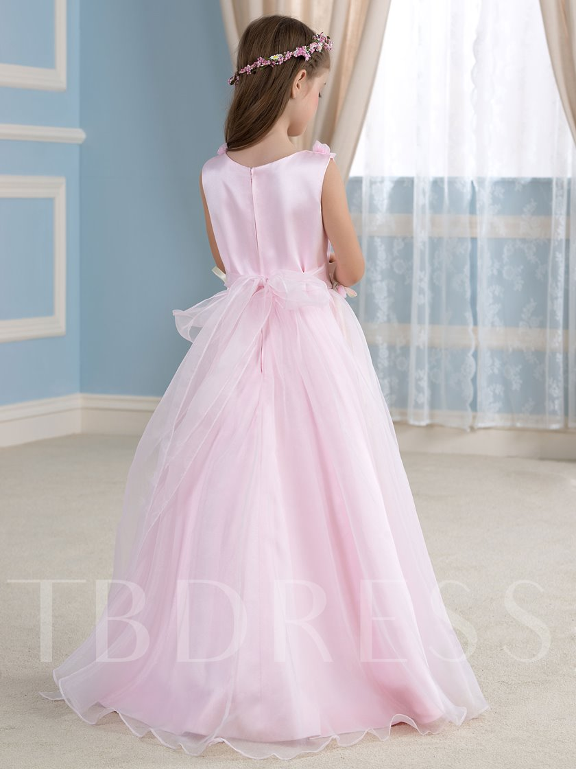 Pink Organza Ribbon A-Line Flower Girl Dress