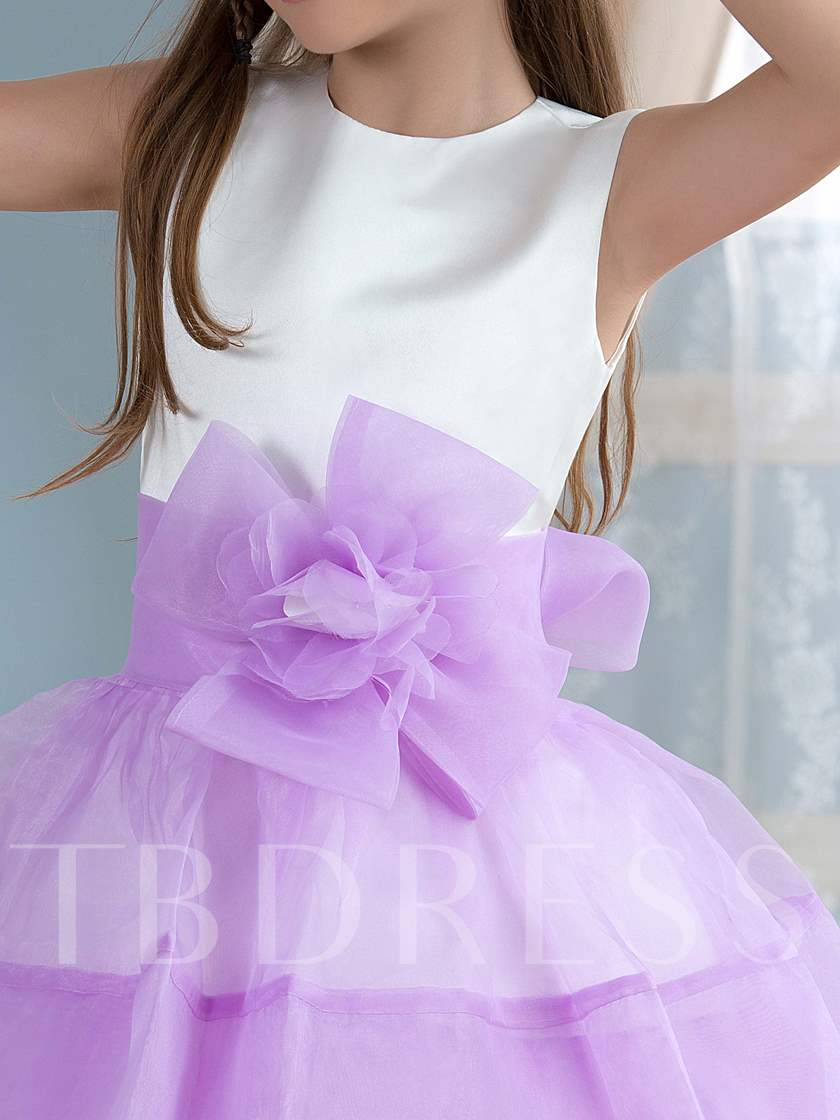 Jewel Neck Organza Ribbon Ball Gown Flower Girl Dress