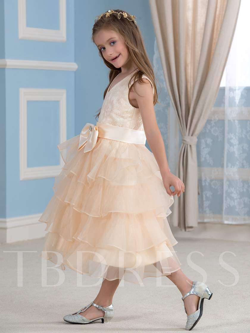Bow Knot Tiered Organza Tea-Length Flower Girl Dress