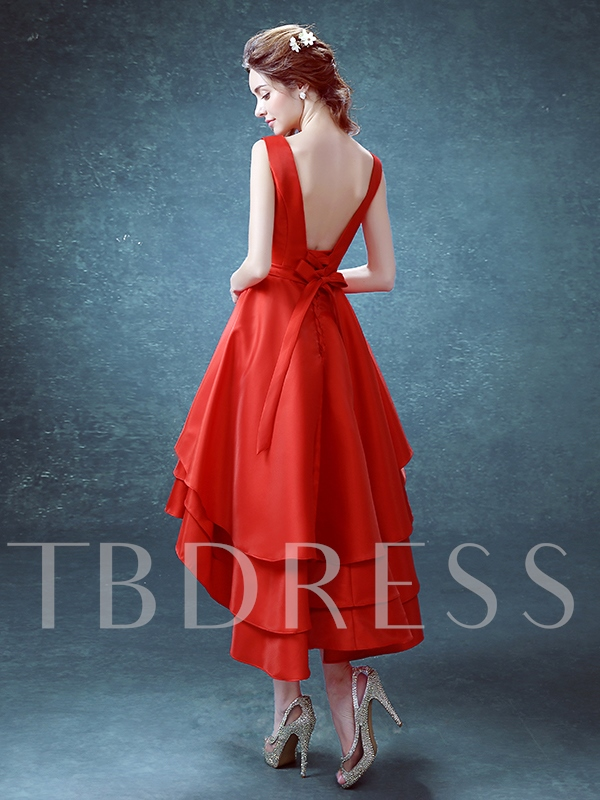 Lower Back Asymmetrical Length Cocktail Dress