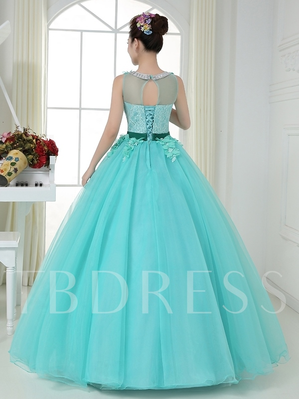Scoop Neck Ball Gown Flowers Lace Belt Quinceanera Dress